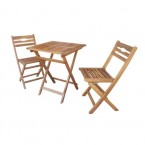 SET WOODEN TABLE 60*60*72cm + 2 CHAIRS - 008634